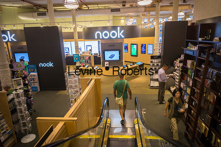 The Nook department in a Barnes & Noble bookstore off of Union Square in New York is seen on Tuesday, August 20, 2013. Despite previous reports Barnes & Noble announced that it plans to keep making the Nook. The company had announced that it plans to have the device manufactured by a third-party but reversed that decision and also announced that a new device will be out in time for the holiday season. (© Richard B. Levine)