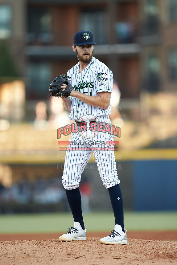 Gwinnett Stripers starting pitcher Ian Anderson (51) looks to his catcher for the sign against the Scranton/Wilkes-Barre RailRiders at BB&T BallPark on August 18, 2019 in Lawrenceville, Georgia. The RailRiders defeated the Stripers 9-3. (Brian Westerholt/Four Seam Images)