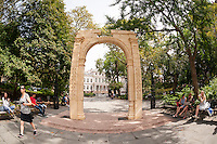 "A 25 foot tall facsimile of the Triumphal Arch of Palmyra on view in New York's City Hall Park is seen on Wednesday, September 21, 2016. The original, which stood for 2000 years in Palmyra, Syria, was destroyed by Isis in 2015. This reproduction, created by the Institute of Digital Archeology and UNESCO is made of Egyptian marble and is meant to encourage the public about the destruction of historic sites which are being destroyed in the name of ""cultural cleansing"". The IDA used high resolution images taken by both archeologists and tourists in the reconstruction. (© Richard B. Levine)"