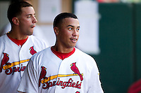 Kolten Wong (4) of the Springfield Cardinals in the dugout during a game against the Arkansas Travelers at Hammons Field on July 25, 2012 in Springfield, Missouri. (David Welker/Four Seam Images)
