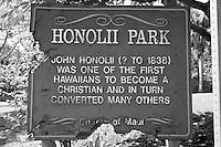 Honolii Park sign, Wailuku, Maui, Hawaii