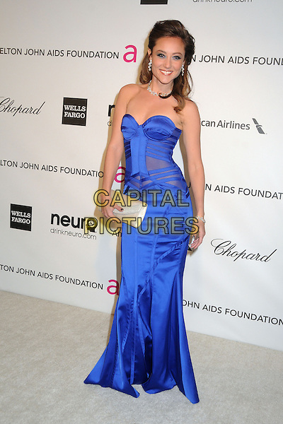 Lauren C. Mayhew.21st Annual Elton John Academy Awards Viewing Party held at West Hollywood Park, West Hollywood, California, USA..February 24th, 2013.oscars full length blue dress strapless corset silk satin clutch bag white.CAP/ADM/BP.©Byron Purvis/AdMedia/Capital Pictures.