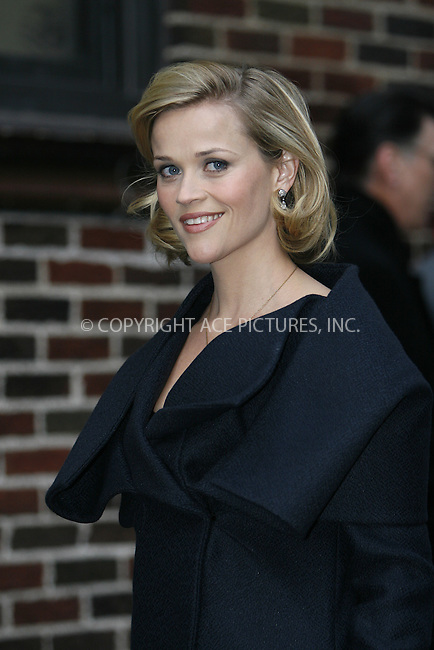 WWW.ACEPIXS.COM . . . . .  ....November 25 2008, New York City....Actress Reese Witherspoon at the 'Late Show with David Letterman' on November 25 2008 in New York City.....Please byline: NANCY RIVERA- ACE PICTURES.... *** ***..Ace Pictures, Inc:  ..tel: (646) 769 0430..e-mail: info@acepixs.com..web: http://www.acepixs.com