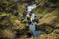 On the Skógá river above the infamous Skogafoss waterfall are a series of equally beautiful falls set amidst the rugeed lavascape that is Southern Iceland.