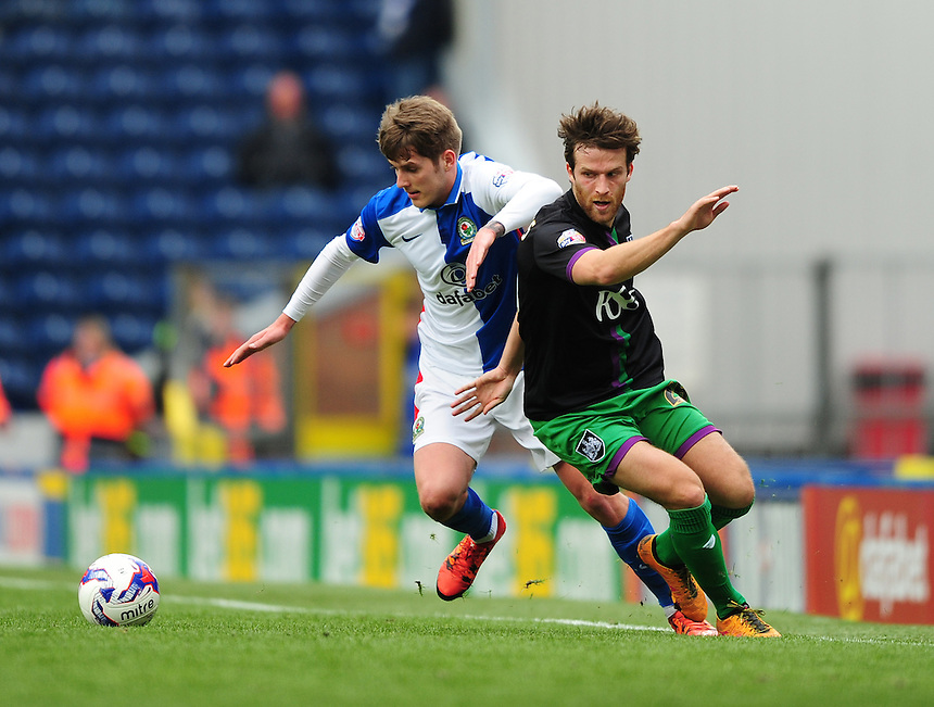 Blackburn Rovers&rsquo; Connor Mahoney vies for possession with Bristol City&rsquo;s Adam Matthews<br /> <br /> Photographer Chris Vaughan/CameraSport<br /> <br /> Football - The Football League Sky Bet Championship - Blackburn Rovers v Bristol City - Saturday 23rd April 2016 - Ewood Park - Blackburn <br /> <br /> &copy; CameraSport - 43 Linden Ave. Countesthorpe. Leicester. England. LE8 5PG - Tel: +44 (0) 116 277 4147 - admin@camerasport.com - www.camerasport.com