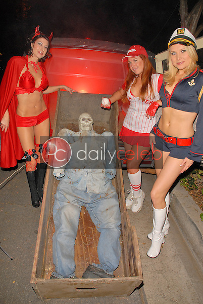 Jamie Carson, Lisa Cash and Alana Curry<br /> preparing for the annual Halloween Bash at the Playboy Mansion, Private Location, Los Angeles, CA. 10-24-09<br /> David Edwards/DailyCeleb.com 818-249-4998