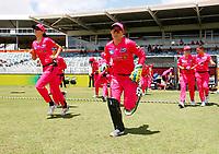 2nd November 2019; Western Australia Cricket Association Ground, Perth, Western Australia, Australia; Womens Big Bash League Cricket, Melbourne Renegades versus Sydney Sixers; Alyssa Healy of the Sydney Sixers runs onto the ground for the start of the match - Editorial Use