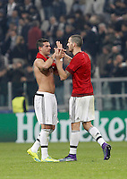 Calcio, andata degli ottavi di finale di Champions League: Juventus vs Bayern Monaco. Torino, Juventus Stadium, 23 febbraio 2016. <br /> Juventus' Stefano Sturaro, left, greets his teammate Leonardo Bonucci at the end of the Champions League round of 16 first leg soccer match between Juventus and Bayern at Turin's Juventus Stadium, 23 February 2016. The game ended 2-2.<br /> UPDATE IMAGES PRESS/Isabella Bonotto