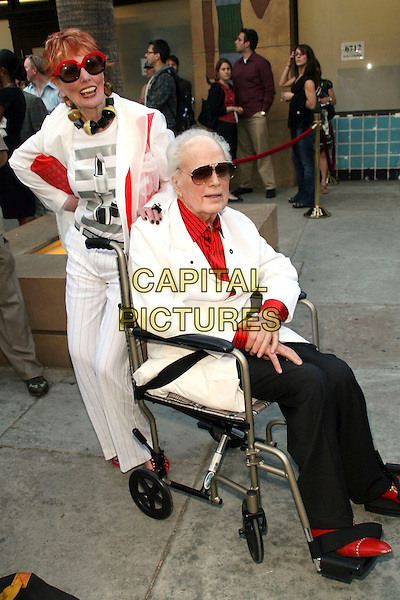 "MARILYN & HARRY LEWIS.""Mad Men Season 2"" Premiere held at the Egyptian Theatre, Hollywood, California, USA..July 21st, 2008.full length white suit jacket black trousers sitting wheelchair sunglasses shades .CAP/ADM/FS.©Faye Sadou/AdMedia/Capital Pictures."