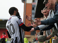 Grimsby Town's Dominic Vose comes to see fans after the final whistle during the Sky Bet League 2 match between Leyton Orient and Grimsby Town at the Matchroom Stadium, London, England on 11 March 2017. Photo by Carlton Myrie / PRiME Media Images.
