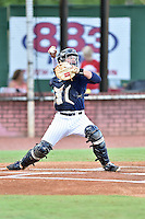 Elizabethton Twins catcher Ben Rortvedt (7) throws to second base during game against the Burlington Royals at Joe O'Brien Field on August 24, 2016 in Elizabethton, Tennessee. The Royals defeated the Twins 8-3. (Tony Farlow/Four Seam Images)