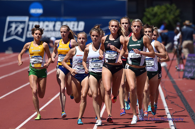13 JUNE 2015: Runners compete in the Women's 3000 meter Steeplechase during the Division I Men's and Women's Outdoor Track & Field Championship held at Hayward Field in Eugene, OR. Steve Dykes/ NCAA Photos