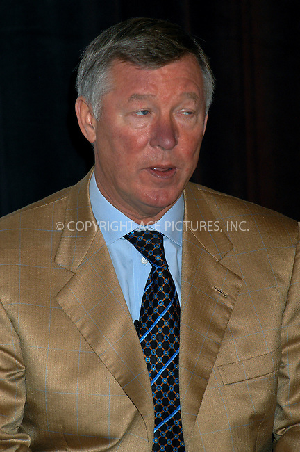 Manchester United coach Sir Alex Ferguson during a news session to announce that 2004 Champions World Series will take Manchester United to USA for three matches. The world's most famous soccer team will play at Soldier Field in Chicago and at Giants Stadium in New York area. New York, November 11, 2003. Please byline: AJ SOKLANER/NY Photo Press.   ..*PAY-PER-USE*      ....NY Photo Press:  ..phone (646) 267-6913;   ..e-mail: info@nyphotopress.com