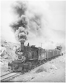 3/4 fireman's-side view of D&amp;RGW #361 with three loaded coal gondolas and a caboose.<br /> D&amp;RGW