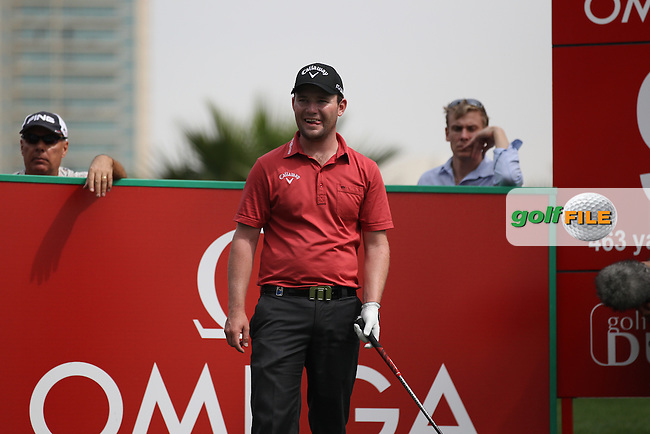 Branden Grace (RSA) waits on the 9th tee during Thursday's Round 1 of the 2012 Omega Dubai Desert Classic at Emirates Golf Club Majlis Course, Dubai, United Arab Emirates, 9th February 2012(Photo Eoin Clarke/www.golffile.ie)