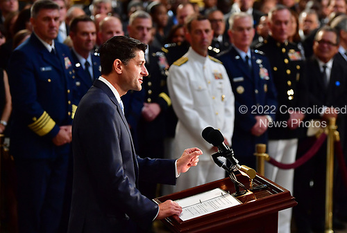 Speaker of the United States House of Representatives Paul Ryan speaks on the first day the casket of former Senator John McCain in the Capitol Rotunda will lie in state at the U.S. Capitol, in Washington, DC on Friday, August 31, 2018. McCain, an Arizona Republican, presidential candidate and war hero died August 25th at the age of 81. He is the 31st person to lie in state at the Capitol in 166 years.    Photo by Kevin Dietsch/UPI