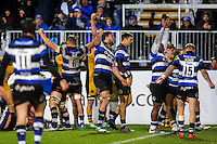 Elliott Stooke and the rest of the Bath Rugby team celebrate at the final whistle. Aviva Premiership match, between Bath Rugby and Bristol Rugby on November 18, 2016 at the Recreation Ground in Bath, England. Photo by: Rogan Thomson / JMP for Onside Images