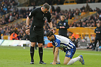 Referee Andre Marriner checks on Alireza Jahanbakhsh of Brighton & Hove Albion during Wolverhampton Wanderers vs Brighton & Hove Albion, Premier League Football at Molineux on 7th March 2020