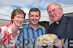 Fair play to them: Margaret O'Sullivan, Sean Woulfe (principal) and PP Fr John O'Shea, sampling some home-cooked cuisine at the fair in the St Mary's Boy's School in Abbeyfeale on Friday.   Copyright Kerry's Eye 2008