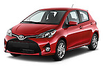 2015 Toyota Yaris SE 5-Door Liftback AT 5 Door Hatchback Angular Front stock photos of front three quarter view