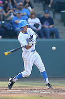 Shane Zeile #9 of the UCLA Bruins bats against the Cal Poly Mustangs at Jackie Robinson Stadium on February 22, 2014 in Los Angeles, California. Cal Poly defeated UCLA, 8-0. (Larry Goren/Four Seam Images)