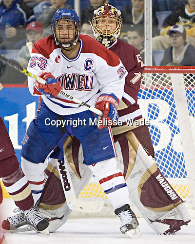 Bobby Robins, Cory Schneider - The University of Massachusetts-Lowell River Hawks defeated the Boston College Eagles 6-3 on Saturday, February 25, 2006, at the Paul E. Tsongas Arena in Lowell, MA.