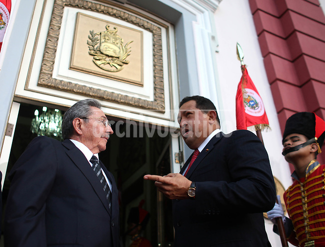 Venezuelan President Hugo Chavez with Cuba President Raul Castro during his visit to Caracas.