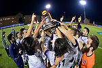 GREENSBORO, NC - DECEMBER 02: Messiah College celebrates after winning the Division III Men's Soccer Championship held at UNC Greensboro Soccer Stadium on December 2, 2017 in Greensboro, North Carolina. Messiah College defeated North Park University 2-1 to win the national title. (Photo by Grant Halverson/NCAA Photos via Getty Images)