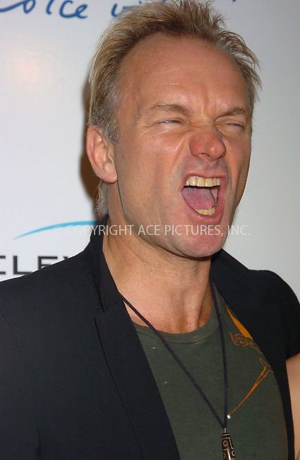 WWW.ACEPIXS.COM . . . . .....November 3 2005, New York City....Sting at 'La Dolce Vita' New York Fundraiser at the Metropolitain Pavilion, which he hosted.....Please byline: AJ Sokalner - ACE PICTURES..... *** ***..Ace Pictures, Inc:  ..Philip Vaughan (212) 243-8787 or (646) 769 0430..e-mail: info@acepixs.com..web: http://www.acepixs.com