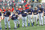 Original League players during the playing of the National Anthem during opening day ceremony for Original League Baseball.