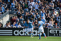 BRONX, NY - Sunday April 30, 2016: New York City FC defeats the Vancouver Whitecaps 3-2 at home at Yankee Stadium in regular season MLS play.