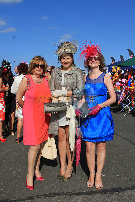 Maureen Johnson, Caitrin O'Rourke and Siobhan O'Connor at the Bellewstown Races 2011...(Photo credit should read Jenny Matthews www.newsfile.ie)....This Picture has been sent you under the conditions enclosed by:.Newsfile Ltd..The Studio,.Millmount Abbey,.Drogheda,.Co Meath..Ireland..Tel: +353(0)41-9871240.Fax: +353(0)41-9871260.GSM: +353(0)86-2500958.email: pictures@newsfile.ie.www.newsfile.ie.