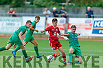 Kerry's Kian Clancy put pressure on Oran Crowe of Cork City in the SSE Airtricity U17 League