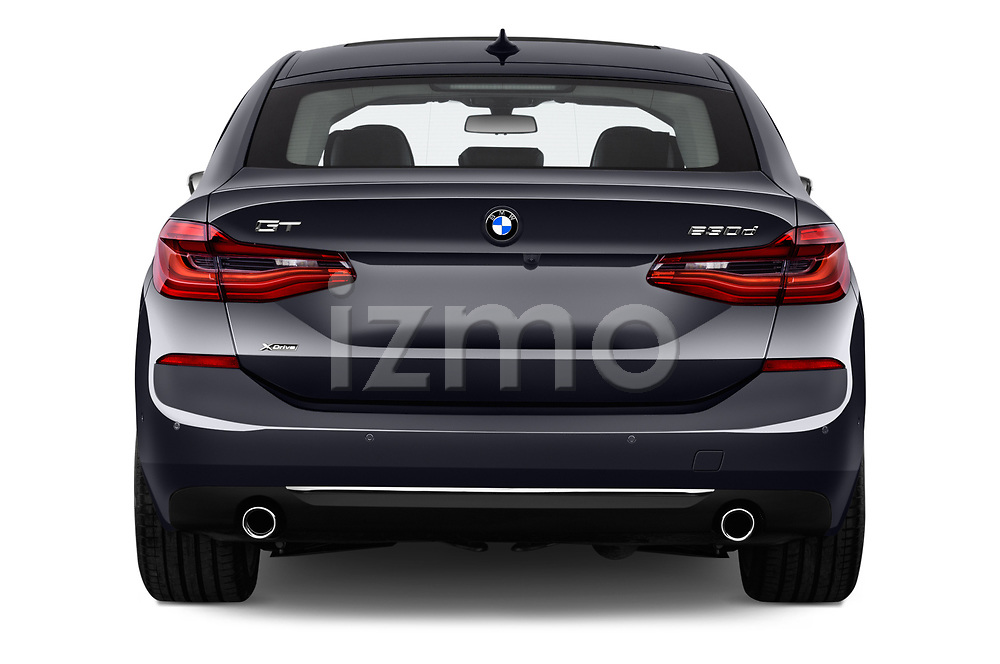 Straight rear view of a 2018 BMW 6 Series Gran Turismo Luxury 5 Door Hatchback stock images