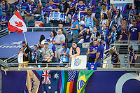 Orlando, Florida - Sunday, May 14, 2016: Fans display their country flags during a National Women's Soccer League match between Orlando Pride and New York Flash at Camping World Stadium.