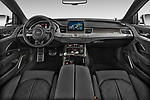 Stock photo of straight dashboard view of 2014 Audi S8 Base 4 Door Sedan
