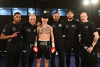 Aaron Sinclair (black shorts) defeats Russ Midgley at the Woodside Leisure Centre on 9th March 2019