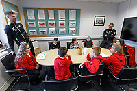 Pictured: Joe Rodon (L) and Lee Trundle (R). Wednesday 29 January 2020<br /> Re: Swansea City AFC Community Trust visit Llangyfelach primary School in Swansea, Wales, UK.