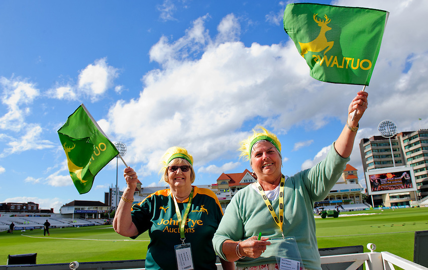 Two Notts Outlaws fans prepare for their sides game with Durham Jets<br /> <br /> Photographer Chris Vaughan/CameraSport<br /> <br /> County Cricket - NatWest T20 Blast - Notts Outlaws v Durham Jets - Friday 1st July 2016 - Trent Bridge - Nottingham<br /> <br /> &copy; CameraSport - 43 Linden Ave. Countesthorpe. Leicester. England. LE8 5PG - Tel: +44 (0) 116 277 4147 - admin@camerasport.com - www.camerasport.com