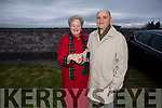 Geraldine and Pat Sayers attending the annual Dawn Mass in Annagh Graveyard on Easter Sunday morning and Geraldine has Pat's All Ireland football medals as a bracelet on her hand.