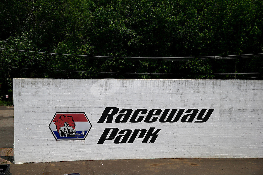 May 29, 2013; Englishtown, NJ, USA: General view of the sound wall behind the starting line with the Raceway Park logo. Mandatory Credit: Mark J. Rebilas-