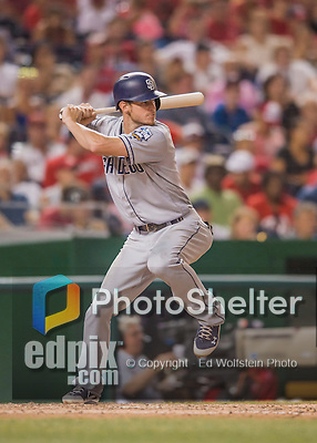 23 July 2016: San Diego Padres first baseman Wil Myers in action against the Washington Nationals at Nationals Park in Washington, DC. The Nationals defeated the Padres 3-2 to tie their series at one game apiece. Mandatory Credit: Ed Wolfstein Photo *** RAW (NEF) Image File Available ***