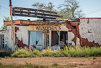 The old Wilkerson station in Newkirk New Mexico on Route 66.  The station closed in 1989 and used to be a Gulf Station.