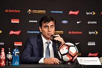 Glendale, AZ - Wednesday June 08, 2016:  Ecuador manager Gustavo Quinteros after a Copa America Centenario Group B match between Ecuador (ECU) and Peru (PER) at University of Phoenix Stadium.