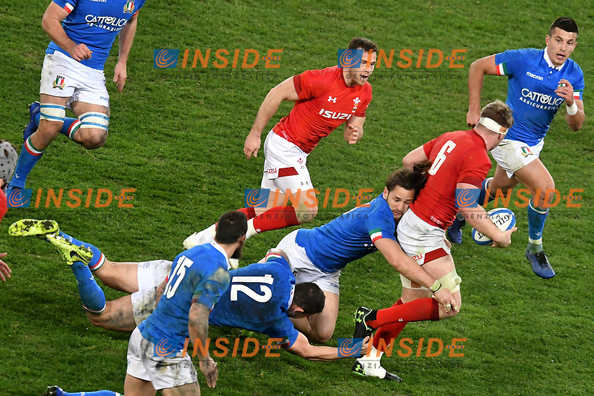 Luca Morisi, Michele Campagnaro Italy, Aaron Wainwright Wales  <br /> Roma 9-02-2019 Stadio Olimpico<br /> Rugby Six Nations tournament 2019  <br /> Italy - Wales <br /> Foto Andrea Staccioli / Resini / Insidefoto