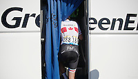 Svein Tuft (CAN/Orica-GreenEDGE) getting onto the bus after the race<br /> <br /> 2014 Tour de France<br /> stage 11: Besan&ccedil;on - Oyonnax (187km)