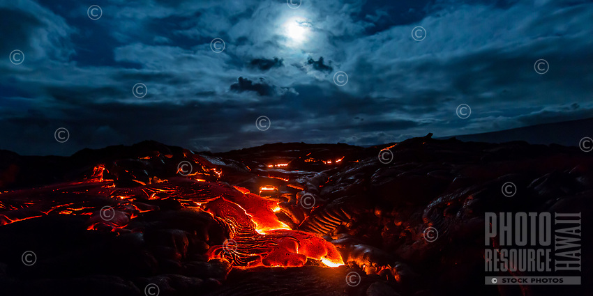 Moonlit Lava Field: With the full moon at its zenith after a deep rainfall, a huge lava flow breaks out over the coastal plains of Pulama Pali, Hawai'i Island, August 2017, 4:05 a.m.