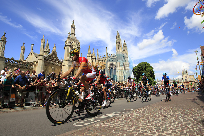 The peleton passes by King's College as they start in Cambridge before the start of Stage 3 of the 2014 Tour de France running 155km from Cambridge to London. 7th July 2014.<br /> Picture: Eoin Clarke www.newsfile.ie
