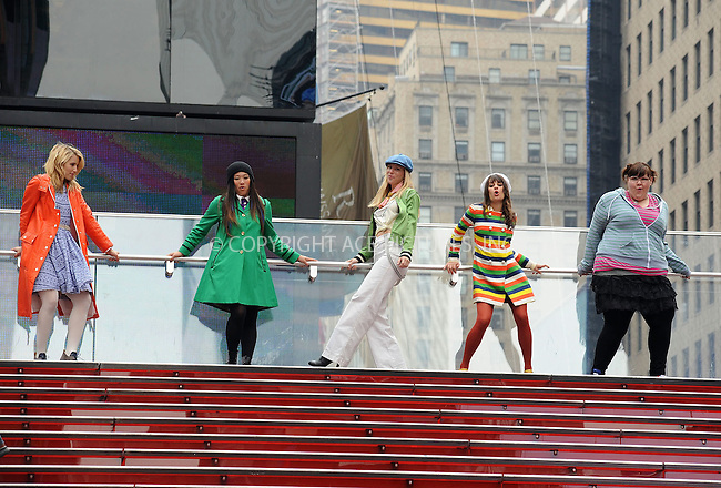WWW.ACEPIXS.COM . . . . . ....April 25 2011, New York City....Actresses (L-R) Dianna Agron, Jenna Ushkowitz, Heather Morris, Lea Michele and Ashley Fink filming an episode of the hit series 'Glee' in Times Square on April 25 2011 in New York City....Please byline: KRISTIN CALLAHAN - ACEPIXS.COM.. . . . . . ..Ace Pictures, Inc:  ..(212) 243-8787 or (646) 679 0430..e-mail: picturedesk@acepixs.com..web: http://www.acepixs.com