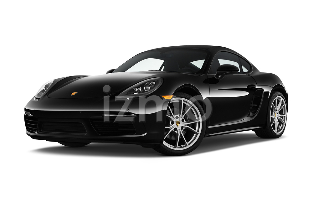 Stock pictures of low aggressive front three quarter view of a 2019 Porsche 718 Cayman Base 2 Door Coupe